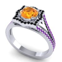 Ornate Halo Naksatra Citrine Ring with Black Onyx and Amethyst in 14k White Gold