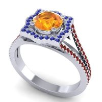 Ornate Halo Naksatra Citrine Ring with Blue Sapphire and Garnet in 18k White Gold
