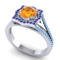 Ornate Halo Naksatra Citrine Ring with Blue Sapphire and Swiss Blue Topaz in Platinum