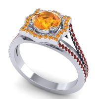 Ornate Halo Naksatra Citrine Ring with Garnet in 14k White Gold