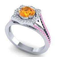 Ornate Halo Naksatra Citrine Ring with Diamond and Pink Tourmaline in Platinum