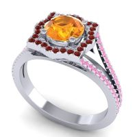 Ornate Halo Naksatra Citrine Ring with Garnet and Pink Tourmaline in Platinum