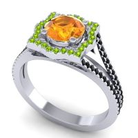 Ornate Halo Naksatra Citrine Ring with Peridot and Black Onyx in 18k White Gold