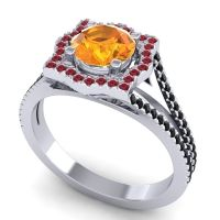 Ornate Halo Naksatra Citrine Ring with Ruby and Black Onyx in Platinum