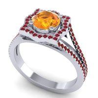 Ornate Halo Naksatra Citrine Ring with Ruby and Garnet in Palladium