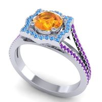Ornate Halo Naksatra Citrine Ring with Swiss Blue Topaz and Amethyst in 18k White Gold