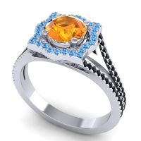 Ornate Halo Naksatra Citrine Ring with Swiss Blue Topaz and Black Onyx in 18k White Gold