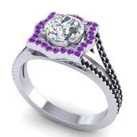 Ornate Halo Naksatra Diamond Ring with Amethyst and Black Onyx in Platinum