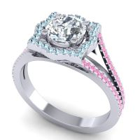 Ornate Halo Naksatra Diamond Ring with Aquamarine and Pink Tourmaline in Platinum