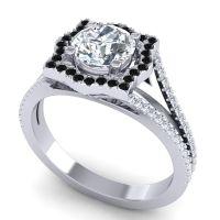 Ornate Halo Naksatra Diamond Ring with Black Onyx in Palladium