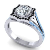 Ornate Halo Naksatra Diamond Ring with Black Onyx and Swiss Blue Topaz in Platinum