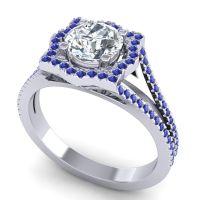 Ornate Halo Naksatra Diamond Ring with Blue Sapphire in Platinum