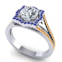 Ornate Halo Naksatra Diamond Ring with Blue Sapphire and Citrine in Platinum