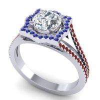 Ornate Halo Naksatra Diamond Ring with Blue Sapphire and Garnet in Platinum