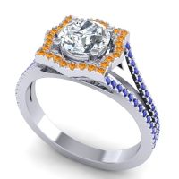 Ornate Halo Naksatra Diamond Ring with Citrine and Blue Sapphire in Platinum