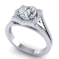 Ornate Halo Naksatra Diamond Ring in 14k White Gold