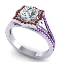Ornate Halo Naksatra Diamond Ring with Garnet and Amethyst in Palladium