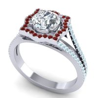 Ornate Halo Naksatra Diamond Ring with Garnet and Aquamarine in 14k White Gold