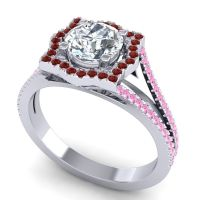 Ornate Halo Naksatra Diamond Ring with Garnet and Pink Tourmaline in Platinum