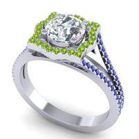 Ornate Halo Naksatra Diamond Ring with Peridot and Blue Sapphire in Platinum