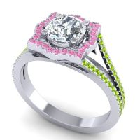 Ornate Halo Naksatra Diamond Ring with Pink Tourmaline and Peridot in 14k White Gold