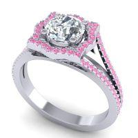 Ornate Halo Naksatra Diamond Ring with Pink Tourmaline in Palladium