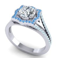 Ornate Halo Naksatra Diamond Ring with Swiss Blue Topaz and Aquamarine in 14k White Gold