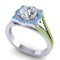 Ornate Halo Naksatra Diamond Ring with Swiss Blue Topaz and Peridot in Platinum