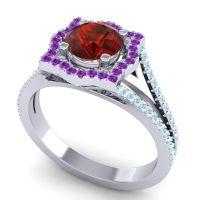 Ornate Halo Naksatra Garnet Ring with Amethyst and Aquamarine in Platinum