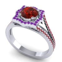 Ornate Halo Naksatra Garnet Ring with Amethyst and Ruby in 18k White Gold