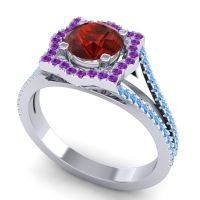 Ornate Halo Naksatra Garnet Ring with Amethyst and Swiss Blue Topaz in Platinum