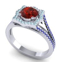 Ornate Halo Naksatra Garnet Ring with Aquamarine and Blue Sapphire in 14k White Gold