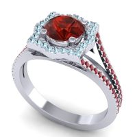 Ornate Halo Naksatra Garnet Ring with Aquamarine and Ruby in 14k White Gold