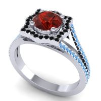 Ornate Halo Naksatra Garnet Ring with Black Onyx and Swiss Blue Topaz in 14k White Gold
