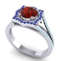 Ornate Halo Naksatra Garnet Ring with Blue Sapphire and Aquamarine in 14k White Gold