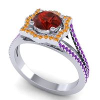 Ornate Halo Naksatra Garnet Ring with Citrine and Amethyst in Platinum