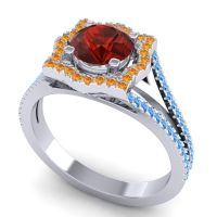 Ornate Halo Naksatra Garnet Ring with Citrine and Swiss Blue Topaz in 14k White Gold