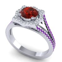 Ornate Halo Naksatra Garnet Ring with Diamond and Amethyst in Platinum
