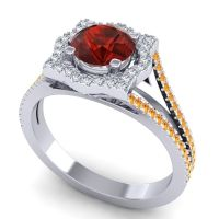Ornate Halo Naksatra Garnet Ring with Diamond and Citrine in Platinum