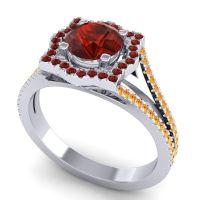 Ornate Halo Naksatra Garnet Ring with Citrine in Palladium