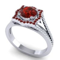 Ornate Halo Naksatra Garnet Ring with Diamond in 14k White Gold