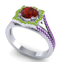 Ornate Halo Naksatra Garnet Ring with Peridot and Amethyst in 14k White Gold