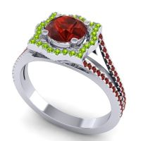 Ornate Halo Naksatra Garnet Ring with Peridot in 14k White Gold