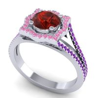Ornate Halo Naksatra Garnet Ring with Pink Tourmaline and Amethyst in 14k White Gold