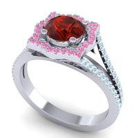 Ornate Halo Naksatra Garnet Ring with Pink Tourmaline and Aquamarine in 18k White Gold