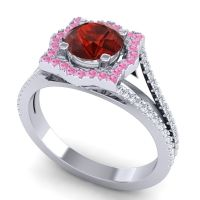 Ornate Halo Naksatra Garnet Ring with Pink Tourmaline and Diamond in 14k White Gold