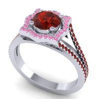 Ornate Halo Naksatra Garnet Ring with Pink Tourmaline in 14k White Gold
