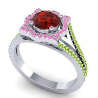 Ornate Halo Naksatra Garnet Ring with Pink Tourmaline and Peridot in 14k White Gold