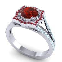 Ornate Halo Naksatra Garnet Ring with Ruby and Aquamarine in Palladium