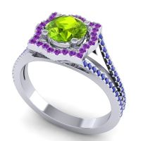 Ornate Halo Naksatra Peridot Ring with Amethyst and Blue Sapphire in 14k White Gold